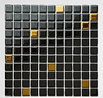 Crystal Glass mosaic   Black + Gold A123