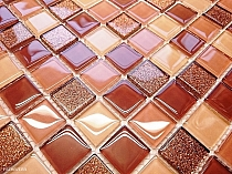 Gold Glitter Glass mosaic BROWN+ BEIGE MIX BM122