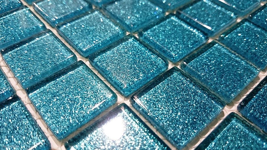 Glasmosaik Fliesen Turkis : Glasmosaik Fliesen Glitzer TüRKIS B120 Glass Mosaic Glitter TURQUOISE