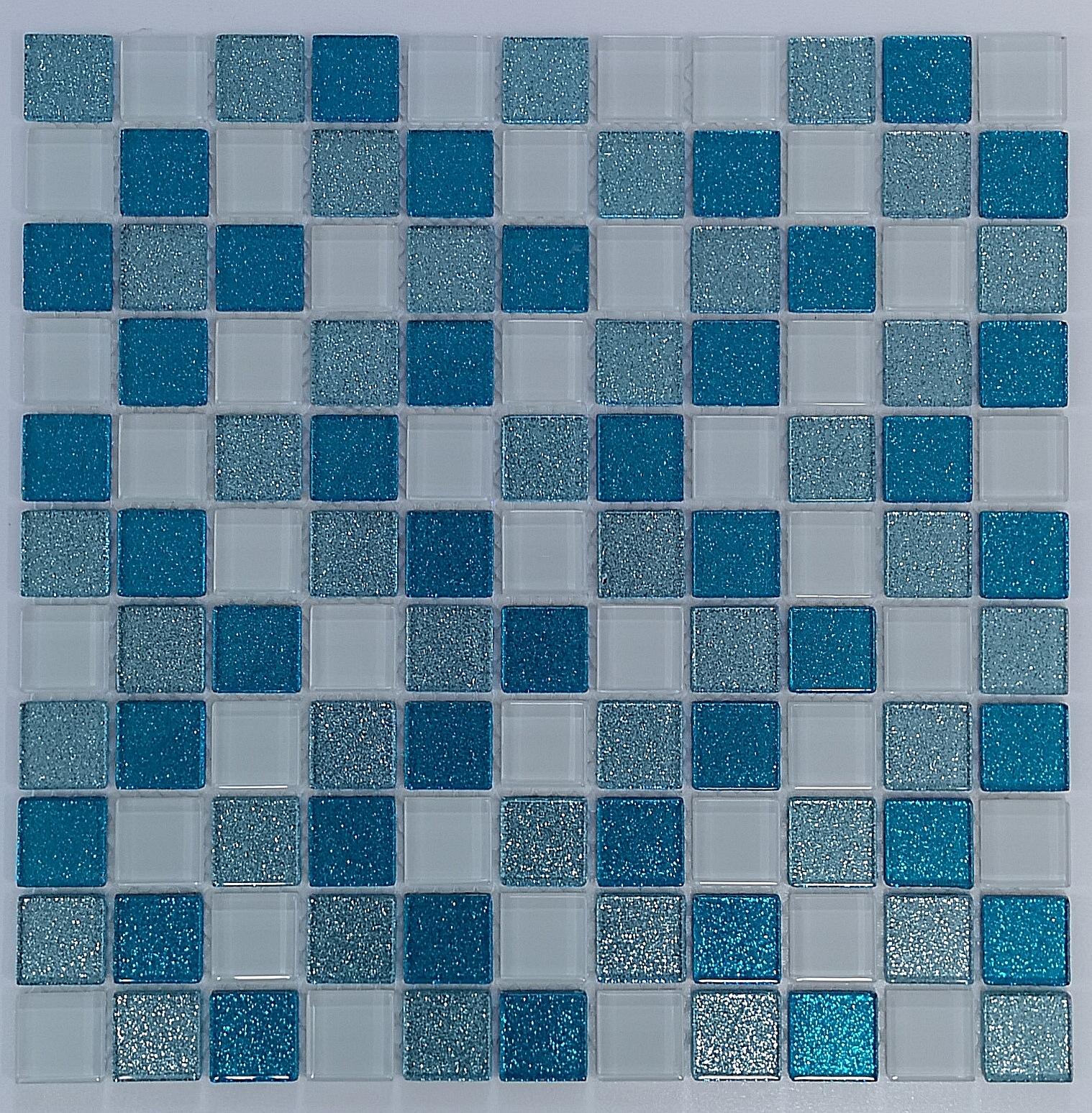 Glasmosaik Fliesen Glitzer TüRKIS + WEISS BM130 Glass Mosaic Glitter