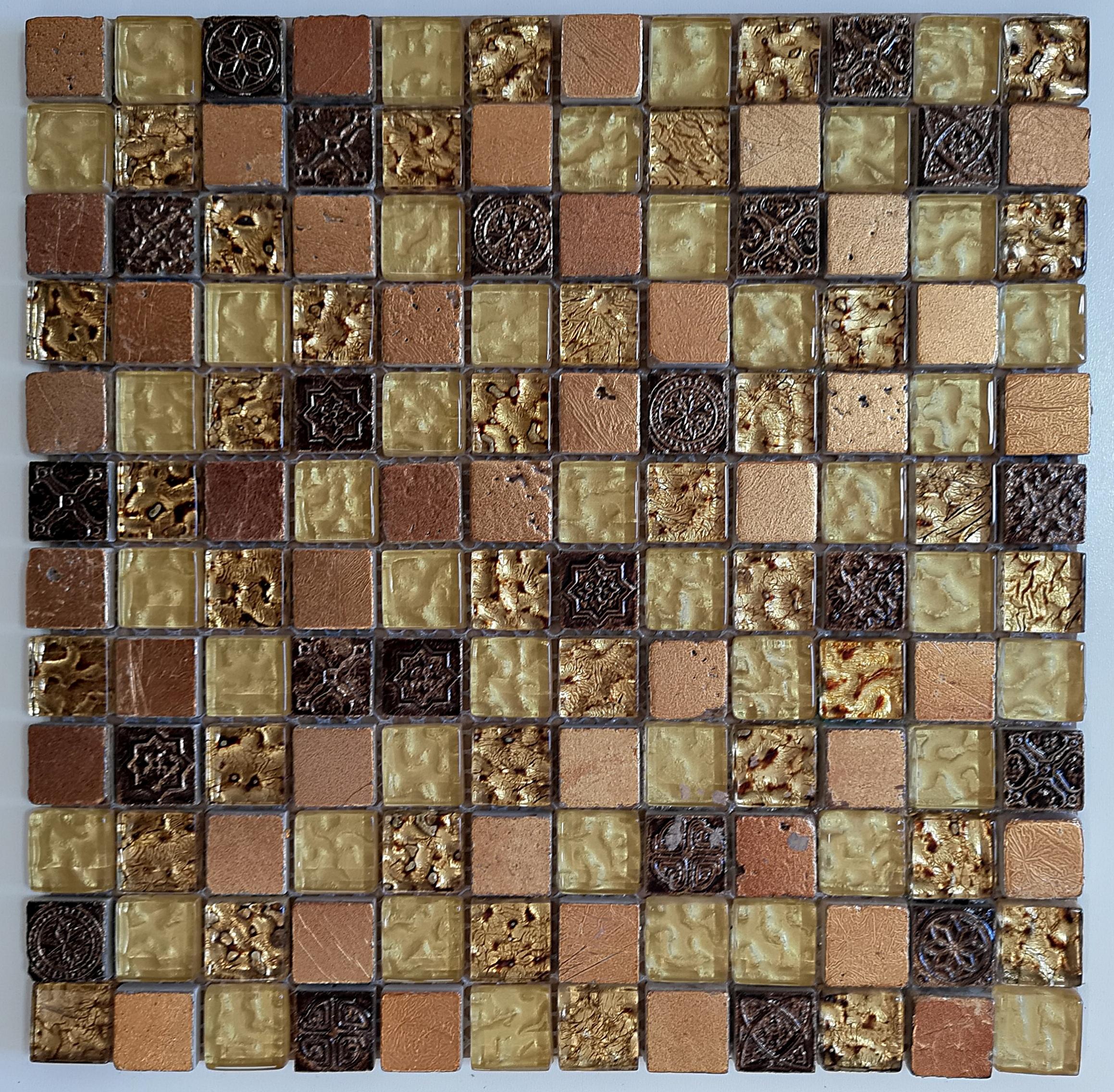 Mozaika Kamienno Szklana Czerwona AZTEC  GOLD A52 wzorowana na BARWOLF Aztec