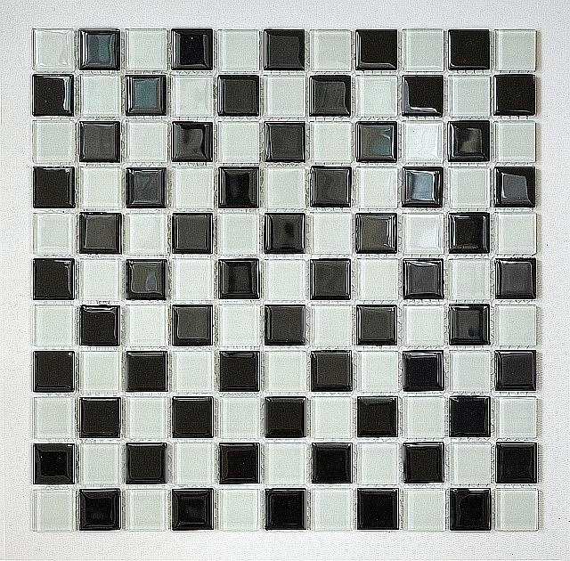Mozaika szklana Czarna+Biała KM107 SZACHOWNICA