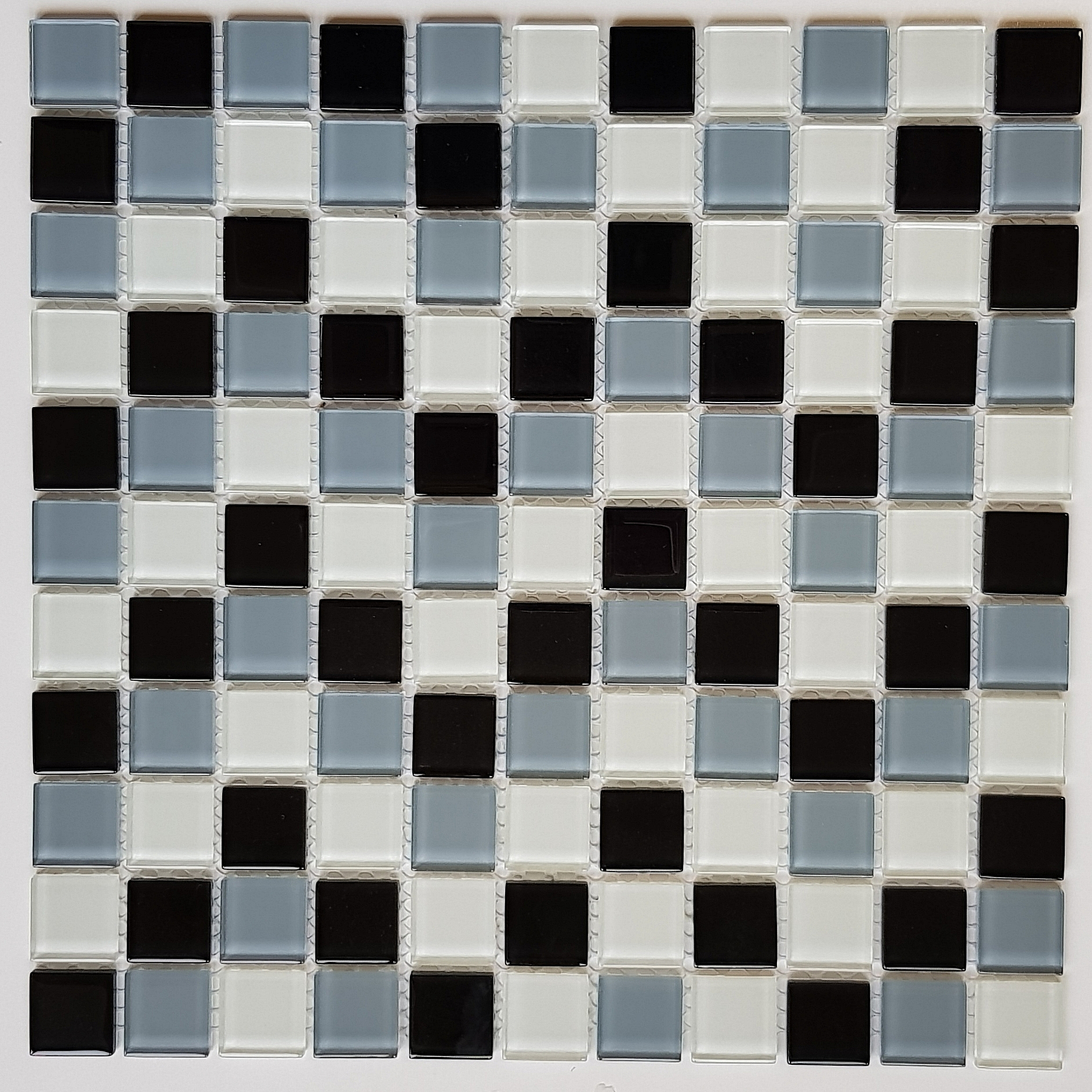 Glass mosaic grey+white+black KM105