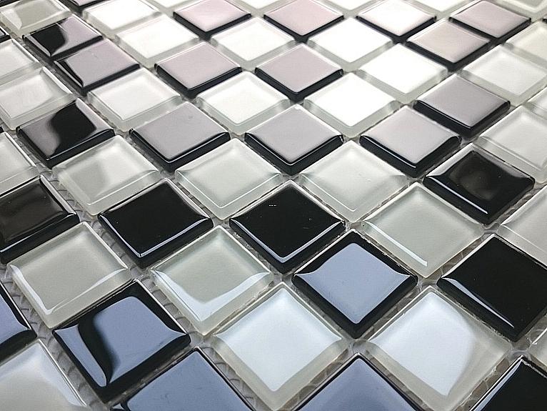 Glass mosaic white + black KM106