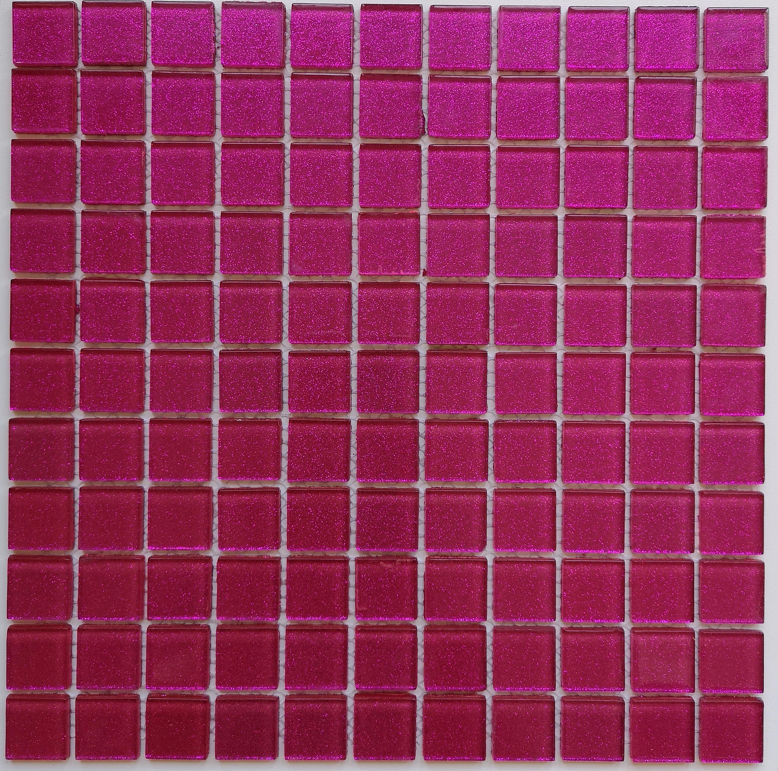 Glitter Glass mosaic FUCHSIA PINK  B115