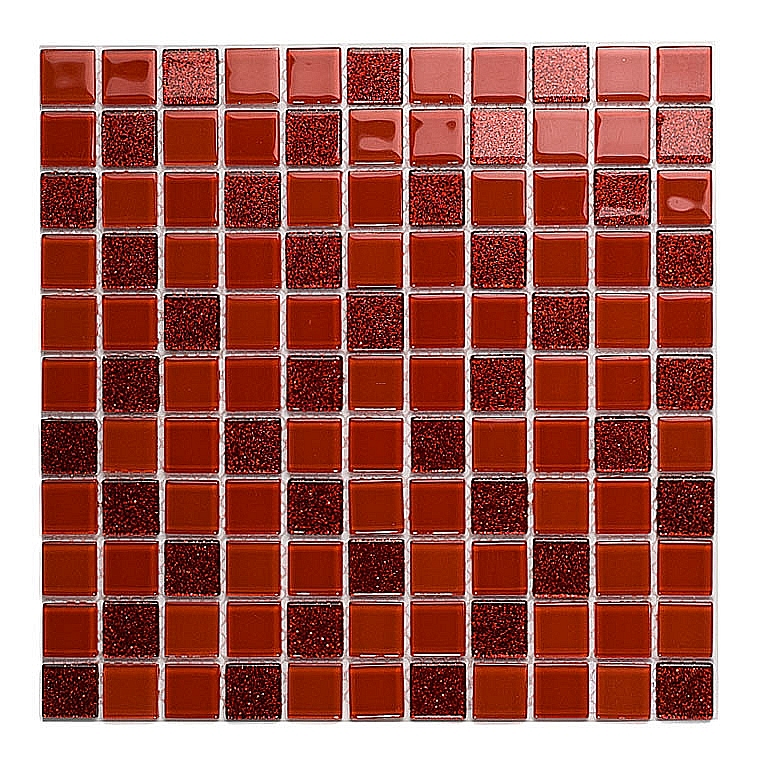 Mozaika Szklana z brokatem CZERWONA MIX BM121