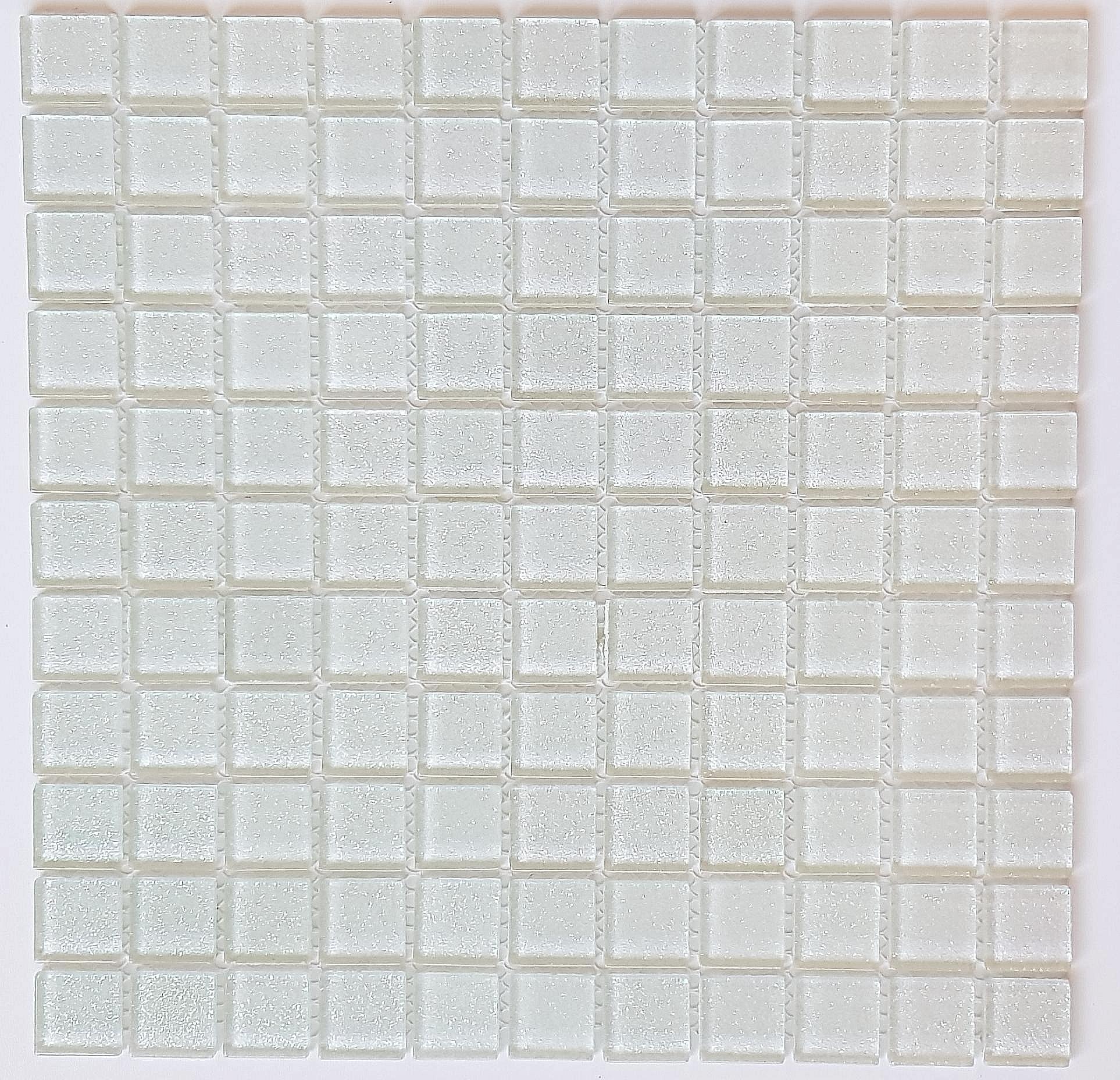 Mozaika Szklana z brokatem BIAŁA B118