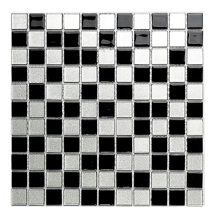 Mozaika Szklana z brokatem SREBRNA+CZARNA  MIX BM123