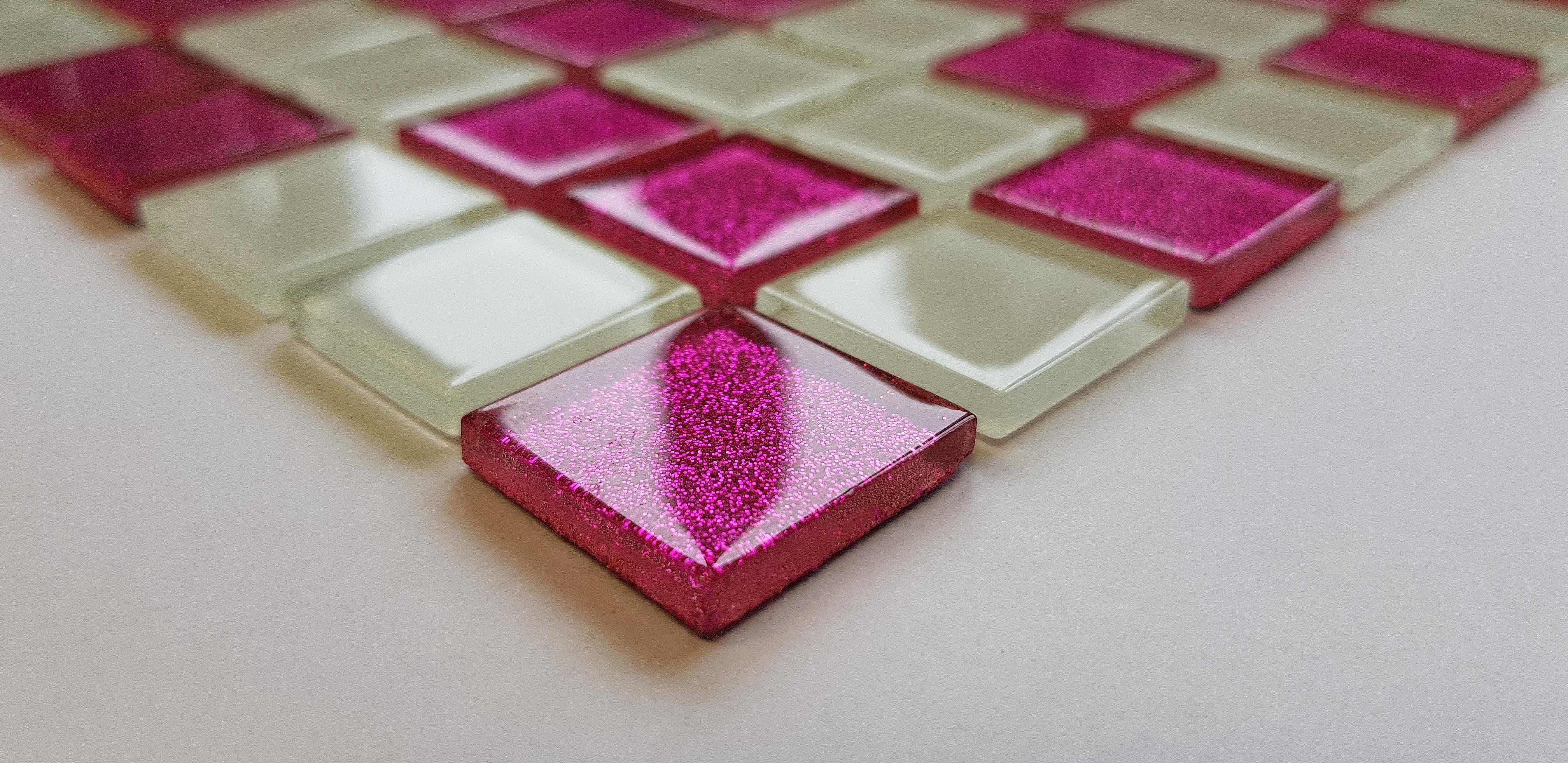 Mozaika Szklana z brokatem RÓŻOWA + BIAŁA MIX BM131