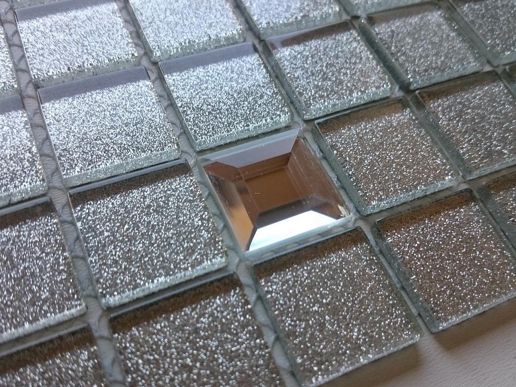 Mozaika Szklana z brokatem SREBRNA DIAMENT Silver  MIX