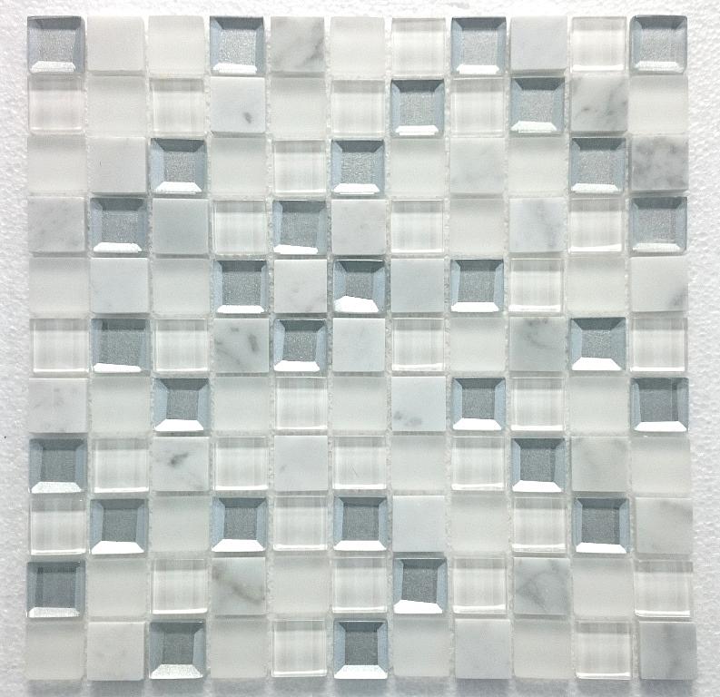 Mozaika Kamienno Szklana MAR 02 Diament biała