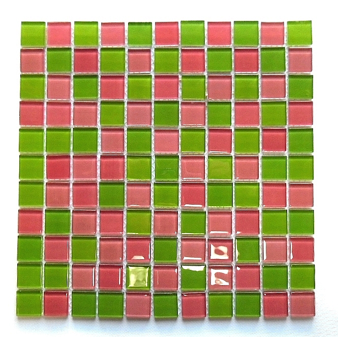 Crystal Glass mosaic Rosa+Green mix  KM102