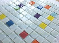 Mozaika Szklana Biała + kolory K105