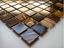 Glass Mosaic Brown+Gold  KMC06 minetta