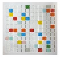 Mozaika szklana  Biała+ kolory  AM105