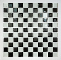 Glass mosaic white+ black chess- mate KM107