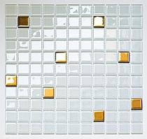 Mozaika Szklana biała + złota  A 125