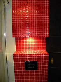 Glass  mosaic glitter red B113