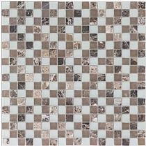Mozaika Kamienno-szklana  BRĄZOWO-BIAŁA  Euro 567  / MARMUR JAVA / SZKŁO