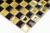 Mozaika Szklana  Diamentowa Czarna+Złota mix  A120