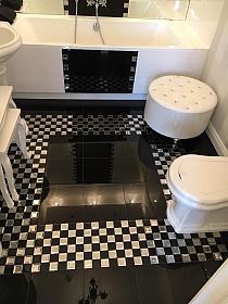 Mozaika Szklana Diamentowa CZARNA+BIAŁA A122 szachownica