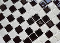 Mozaika szklana Melanż CZARNA+BIAŁA DC411- WYSOKI POŁYSK