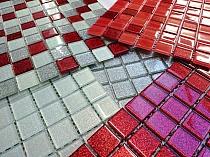 Mozaika Szklana z brokatem BIAŁA + CZERWONA + SREBRNA  BM120