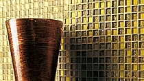 Gold Glitter Glass mosaic BROWN+ BEIGE MIX BM122