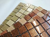 Mozaika Szklana z brokatem BRĄZOWA BEŻOWA MIX BM122