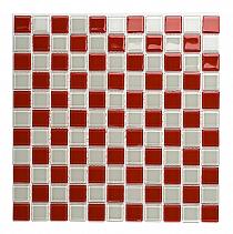 Mozaika Szklana Czerwona+ Biała KM111