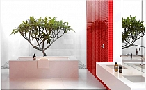 Crystal Glass mosaic Red White KM111