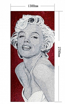 Glass mosaic pattern Marilyn Monroe