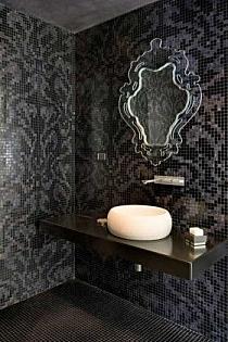 Glass mosaic Damasco Black and Opale