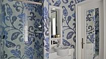 Mozaika szklana Summer flowers blue biała+niebieska