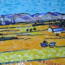 Glass mosaic Van Gogh Wheat Field