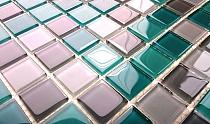 Glass Mosaic Turquoise+grey  KM109