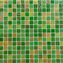 Glass mosaic green+gold kmc05
