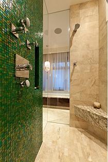 Mozaika szklana zielona + złota KMC05