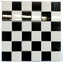 Mozaika Szklana Czarna Biała KM207  podłogowa lub ścienna