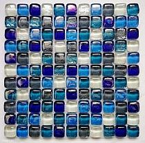 A04 Buble cube dah Mozaika szklana Niebieski mix