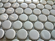 Ceramic mosaic WHITE  BUTTONS 2 cm Loop  GLOSS