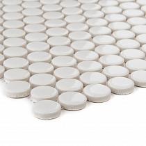 Ceramic mosaic WHITE  BUTTONS 2 cm Loop  GLOSS