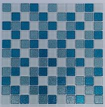Mozaika Szklana z brokatem TURKUSOWA + BIAŁA MIX BM130