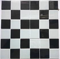 Mozaika Szklana Czarna Biała KM206
