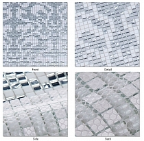 Glass mosaic Damasco Oro Bianco white+ silver