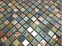 Mozaika szklano-kamienna  SZARO-MIEDZIANA  A55