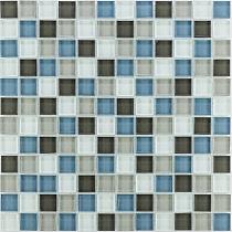 Mozaika Szklana  Brązowa mix KM115 szara biała niebieska Robin