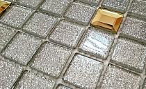 Mozaika Szklana z brokatem SREBRNA DIAMENT Gold  MIX