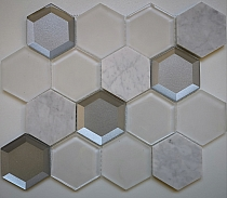 Biały marmur Carrara octagon Mozaikia kamienna hexa szklana Mar 01