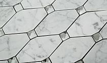 Biały marmur Carrara octagon Mozaikia kamienna hexa Diament Mar 04